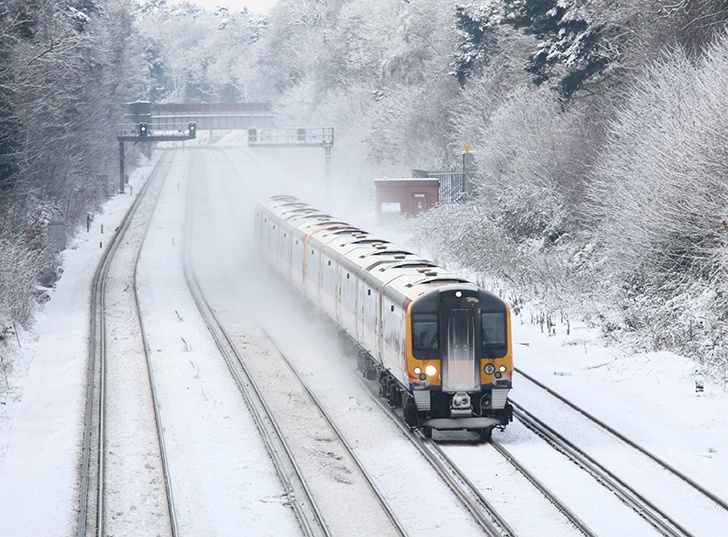 Train in a harsh snowy environment