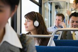 Millenials riding mass transit.